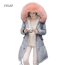 FTLZZ 2017 New Winter Women Jacket Large Fur Collar Hooded Parkas Cotton Duck Down Warm Coat Embroidery Overcoats Snowoutwear