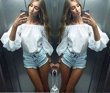 2016 Women Horizontal Neck Off Shoulder Bubble Puff Sleeve Casual Tops T Shirt WHolesale