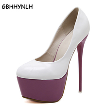GBHHYNLH purple shoes women Sexy Pumps Extreme High Heels Designer Shoes Platform Pumps Stiletto heels Valentine Shoes LJA15(China)