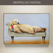 Artist Hand-painted Humor Animal Polar Bear Oil Painting on Canvas Handmade Funny Polar Bear Lying on the Bed Oil Painting(China)