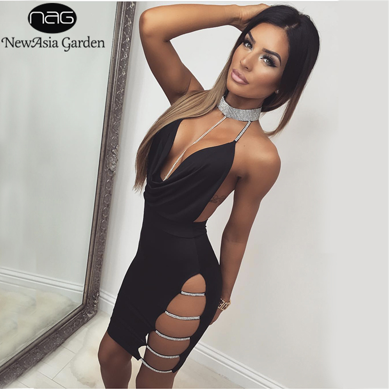 NewAsia Garden Women Sexy Dress Black Bodycon Rhinestone Sequin Halter Backless Dress 2018 Summer Dresses Mini Party Dresses