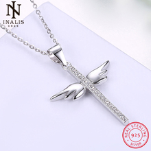 INALIS 925 Sterling Silver Necklace inlaid Zircon Angel Wings Cross Necklace For Women Girl Female Jewelry Wedding Gift(China)
