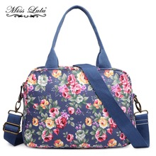 MISS LULU Women Handbags Top-handle Bags Flower Vintage Shoulder Bags Cross Body Bags for Girls Satchel Oilcloth Tote Bag YD1657