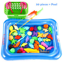 50pcs/Set New fishing toys Magnetic Fishing Pole Rod 3D Fish Model Baby Bath Toys Outdoor Fun Kids Toy + Pool + Small Inflator(China)