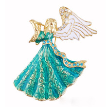 SHUANGR Hot Vintage Music angle brooch green & white crystal brooch pins for women girl dress Accessories Christmas Gift(China)