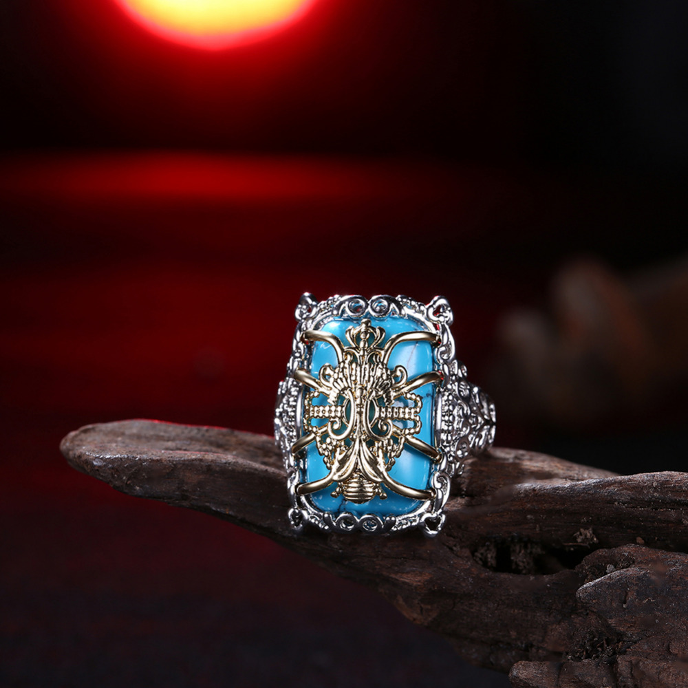 Light Colors 925 Silver Turquoise With Golden Flower