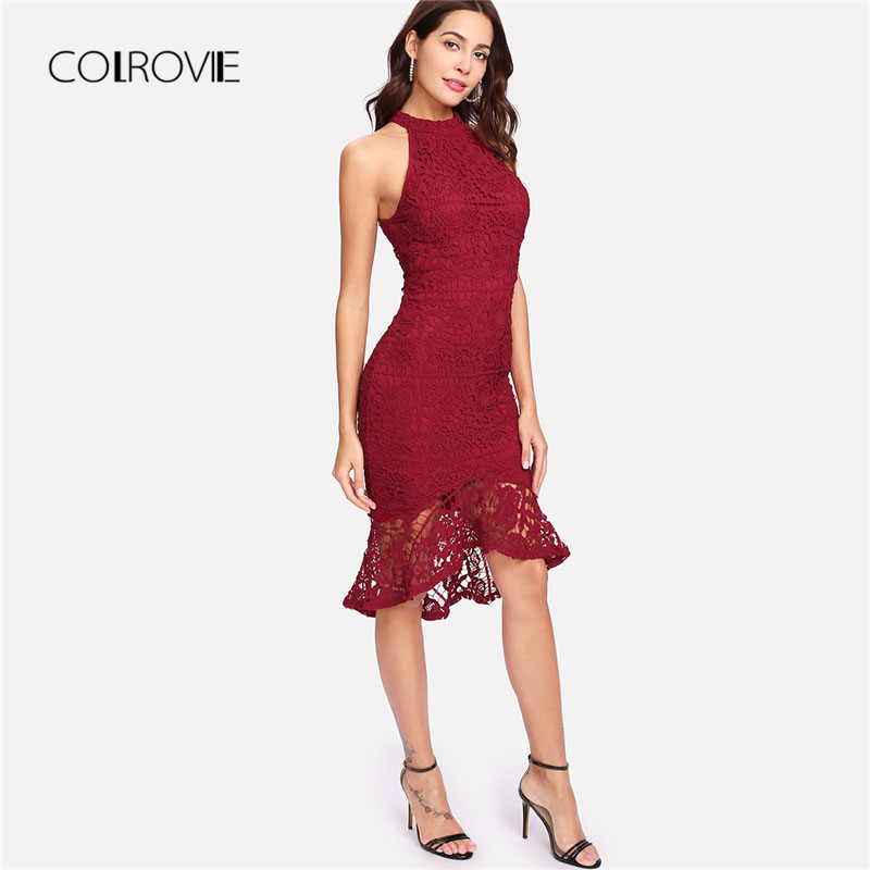 COLROVIE Ruffle Dip Hem Fitted Lace Party Dress 2018 New Summer Sleeveless Women Dress Burgundy Knee Length Halter Sexy Dress