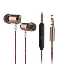 Metal Heavy Bass Earphones monitor  In-ear earpiece Music Earphone Wired control Headset with 3.5mm connector for Iphone PC