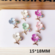 New Arrived Rhinestone decoration Alloy Gold Tone Cartoon Resin Flowers Shape Peach branches Charms Diy Jewelry Accessories