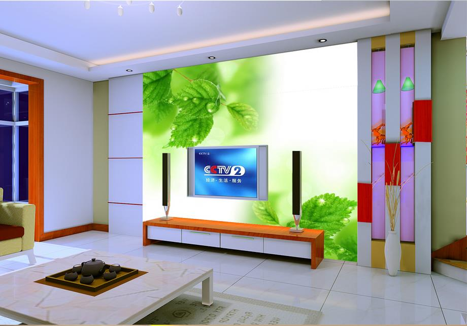 luxury wall paper custom 3d wallpapers for wall TV backdrop foliage green leaf drops of water 3d wallpaper living room <br><br>Aliexpress