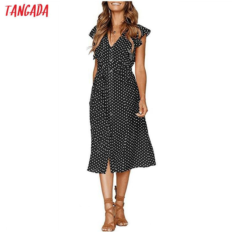 HTB1MD5.kUOWBKNjSZKzq6xfWFXaQ - Tangada polka dot dress for women office midi dress 80s 2018 vintage cute A-line dress red blue ruffle sleeve vestidos AON08