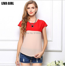 HOT Selling!!Korean Style Women's Chiffon Unlined Upper Garment Double Color Stitching Loose Short Sleeve Casual Chiffon Blouse(China)