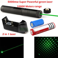 Promotion Burn match Flashlight 2 in 1 5000MW Red green kaleidoscope Laser Pointer & 16340 18650 Rechargeable Battery & Charger(China)