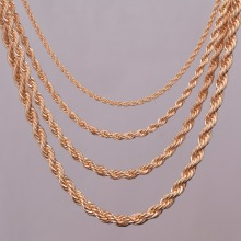 "16""18""20""24"" gold rope chain necklace 2mm,3mm,4mm,5mm For pendant rope jewelry findings"