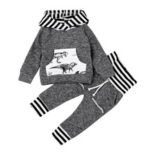 MUQGEW Newborn Baby Boy Clothes Cartoon Dinosaur Hoodie Tops+Pants Outfit Clothes Set Age 0-18M Roupa Infantil Menino QZ06(China)