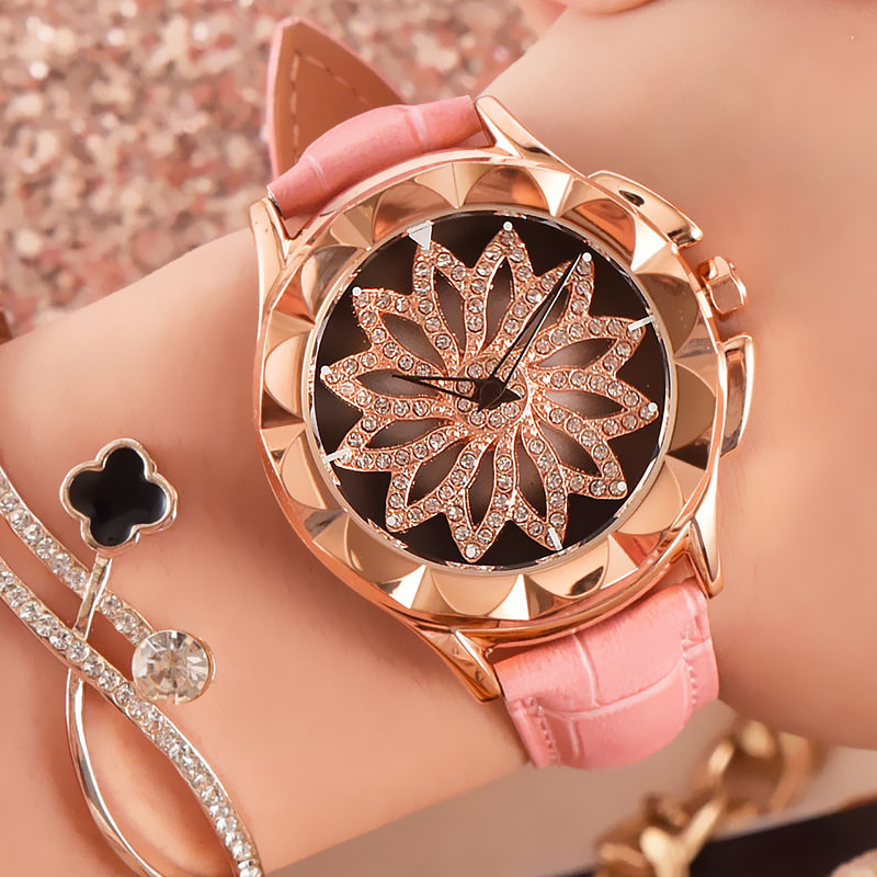 Watch Women Real Leather Watches Reloj Mujer Top Luxury Brand Rotatable Dial Ladies Quartz Watch Wrist Relogio Feminino Hodinky<br>