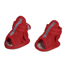 Casual Anti-Slip Dog Shoes Puppy Shoes Small Pet Spring Summer Breathable Soft Mesh Sandals Dog Supplies Size 2# 3# 5# 4PCs/ Set