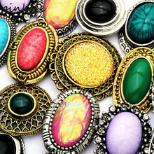 PINKSEE 5pcs/lot Mixed Styles Vintage Colorful Big Stone Rings for Women Finger Ring Adjustable Jewelry Accessories