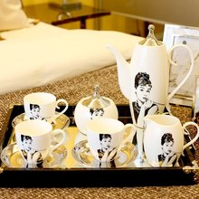 Villa European Bone Porcelain Afternoon Tea coffee cup Set Restaurant Ceramic Ornaments High-end luxury Decoration Gifts
