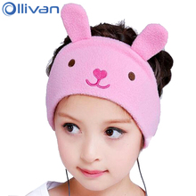 Ollivan Soft Fleece Kids Headphones Adjustable Comfortable Headband Headphone For Children Cartoon Earphone For Travel Tourism