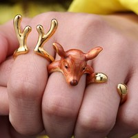 3pcs/set gold color Punk Style Animal Deer Rings for Women Jewelry handmade Christmas gift antlers Joint Ring Sets new year gift