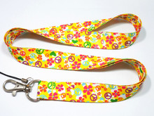 Yellow Peace Sign Key Lanyard ID Badge Holders Phone Neck Straps