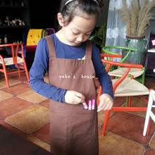 Hot Sale Cotton Apron Children Kitchen Cooking Cute Kids Apron Black Red Sleeveless Bib Apron With Pockets