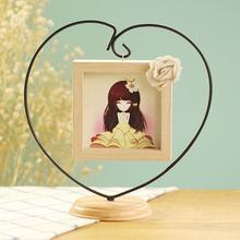 Novel Opening Decorative Iron Heart-shape Wooden Picture Frame, Thickening Pine Square Table Photo Frame-30(China)