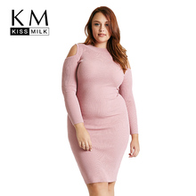 Kissmilk Fashion Plus Size Solid Color Women Clothing Cut Out Long Sleeve Dress Crewneck Big Size Slim Soft Dress 3XL-6XL