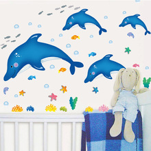 Hot style sell like hot cakes can remove PVC wall stick dolphins diving aquarium kindergarten children room bathroom stickers