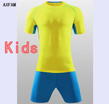 AXFAM Kids Football uniform Short sleeves O-neck Boy girl Soccer Jerseys kit survetement Football 2017 Training Suit QD676