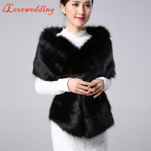 iLoveWedding White/ Black Faux Fur Shawl Shrug Cape Shrug Bolero Coat Jacket Wedding Bridal Wrap Special Occasion Wedding Shawl