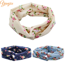 Headband Trendy European Spring/Summer Floral Cotton Infantile Cross Headband Bandeau Elastic Kids Girl DIY Hair Accessories(China)