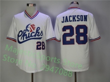 #28 Bo Jackson Chicks Baseball Jersey White Movie Jersey American Baseball Jersey Cheap Throwback Short Sleevele pullover