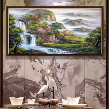 Hand made oil painting on canvas Chinese landscape oil painting home decor for living room art on canvas(China)