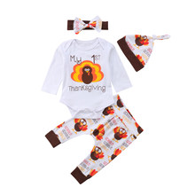 Newborn Infant Baby Boy Girl Long Sleeve Romper Tops Chicken Print Long Pants Headband Hat Outfits Clothes Set(China)