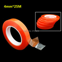 4mm*25M Strong Acrylic Adhesive PET Red Film Clear Double Side Tape No Trace For Phone Tablet LCD Screen Glass(China)