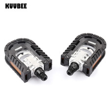 KUUBEE Steel or Aluminum Bike foot Pedals Folding Cycling Pedals Pedali Mtb Spd Mtb Bicycle Ball Bearing Footboard
