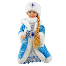 Christmas doll Russian music electric Santa Claus doll 30cm Russian Doll decoration snow girl music flashing dancing Santa Toy