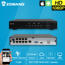 ZGWANG 8CH NVR POE Full HD 48V 8Channel 1080P Security POE Switch 2.0MP HDMI VGA Plug & Play NVR POE 8ch VCA H.264 Support Onvif(China)