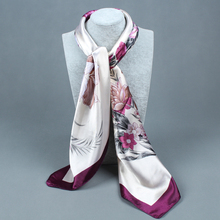 Scarf Women large satin square polyester scarf 90 * 90 cm Print flowers Emulation silk scarf headband summer style scarf
