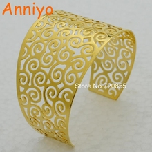 Anniyo Wide 4.5cm beautiful pattern bangle women gold color high quality jewelry gold big bracelet