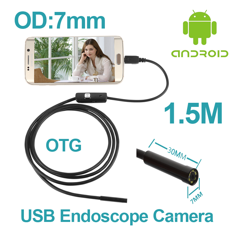 5PCS/lot 1.5M 7mm len inspection Pipe Endoscope Camera Endoscope Android Phone OTG Function P67 Waterproof micro USB Camera<br><br>Aliexpress