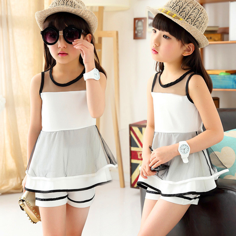 Retail 2016 Baby Girls Sets New Girl Summer Fashion White Lace Blouse + Pants Two-piece Suits Kids Girls Clothes Suit 3-12Y<br><br>Aliexpress