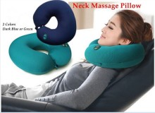 neck massager U shape electric pillow massager cushion Six-speed adjustable neck massager pillow green or dark blue(China)