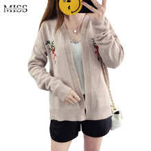 MISSFEBPLUM New Korean Embroidery Cardigan 2017 Fall Long Sleeve Short Knitted Cardigans Female Sweater Jacket Coat Outwears
