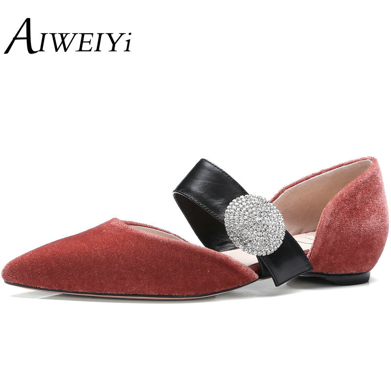 AIWEIYi Women Flats Pointed toe Moccasins Shoes For Women Rhinestone Buckle Strap Platform Casual Shoes Ladies Ballet Flats<br><br>Aliexpress