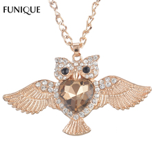 FUNIQUE Owl Pattern Rhinestones Pendant Necklace Rose/Gold/Silver color Statement Necklace Jewelry Women Long Chain Necklace New(China)