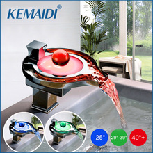 KEMAIDI Led Bathroom Faucet Brass Chromed Waterfall Bathroom Basin Faucets 3 Color Change Tap Water Power Basin Led Mixer Faucet(China)