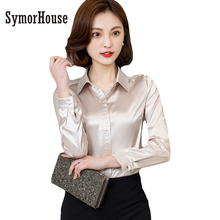 Buy Women silk satin blouse button long sleeve White Gold Red Black lapel ladies office work elegant female silk blouses shirts for $12.40 in AliExpress store